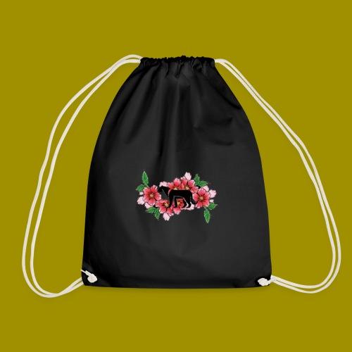 Sakura Leafs, Flowers and Black Tiger Avatar - Drawstring Bag