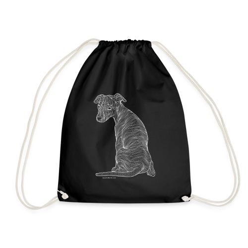 Whippet white line - Drawstring Bag