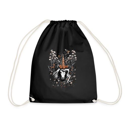 Deer Unicorn Flowers - Drawstring Bag
