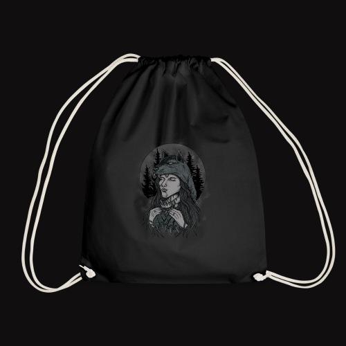 women wolf - Drawstring Bag