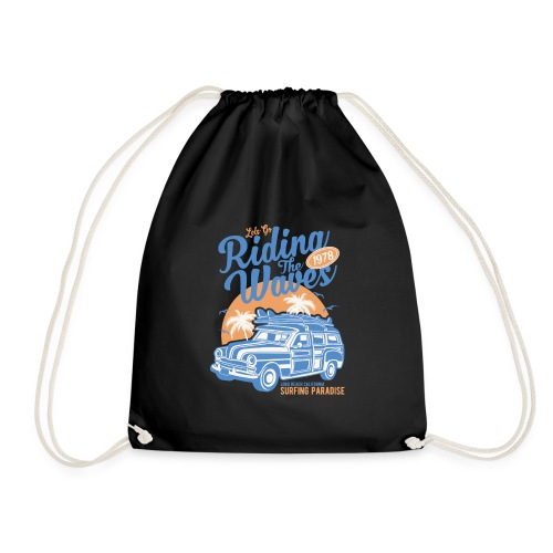Riding The Waves Vintage Style - Drawstring Bag
