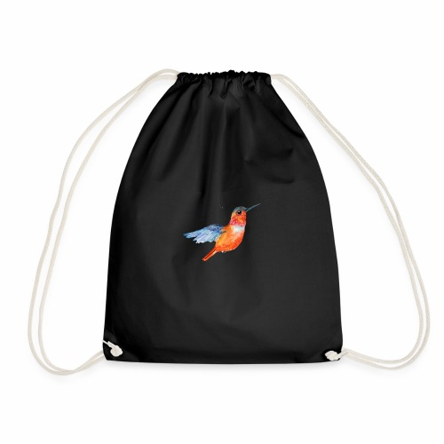 ORANGE BLUE HUMMING BIRD HUMMINGBIRD DESIGN - Drawstring Bag