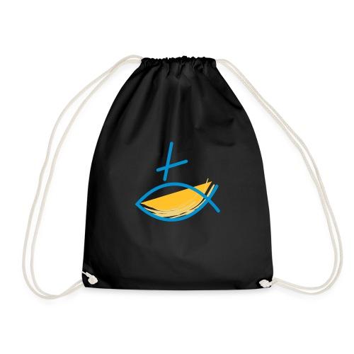Altkatholischer Logo Fisch Blau/Gelb - Turnbeutel
