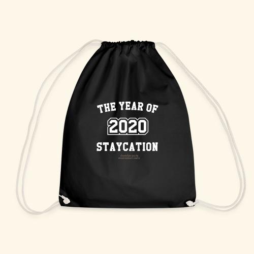Quarantäne T Shirt Spruch 2020 Year of Staycation - Turnbeutel