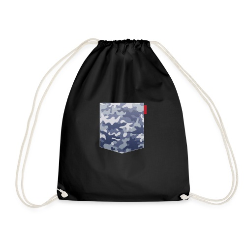 Blue Camo Pocket Patch - Drawstring Bag