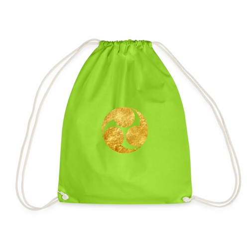 Kobayakawa Mon Japanese clan gold on black - Drawstring Bag