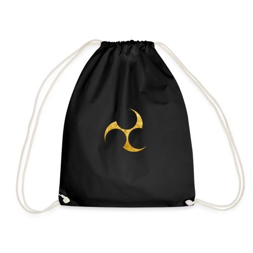 Kobayakawa Mon Japanese clan gold on black - Drawstring Bag