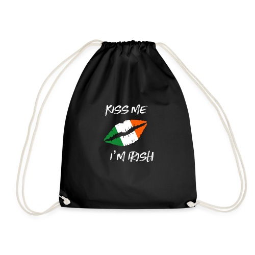 kiss me irish lips - Drawstring Bag