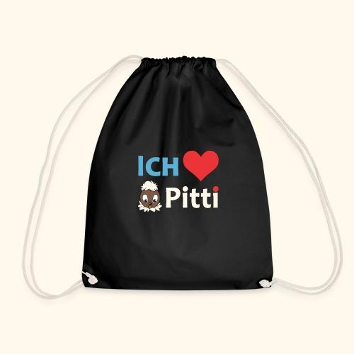 Pittiplatsch Ich liebe Pitti auf dunkel (blau/crem - Turnbeutel