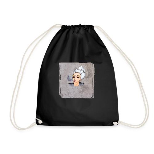Girl blowing air or else - Drawstring Bag