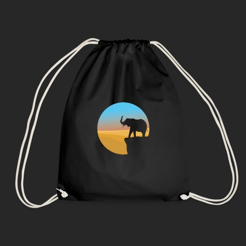 Sunset Elephant - Drawstring Bag