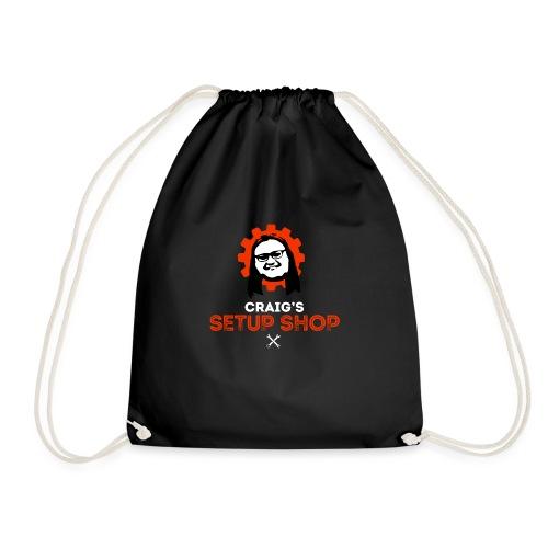 Craigs Setup Shop on black - Drawstring Bag