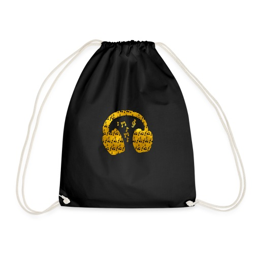 Music Notes HeadPhones Gold - Drawstring Bag