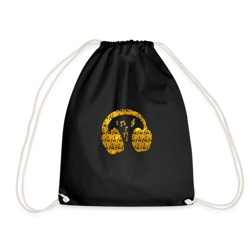 Music Notes HeadPhones Gold - Drawstring Bag
