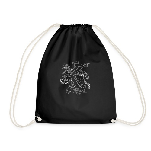 Fantasy white scribblesirii - Drawstring Bag