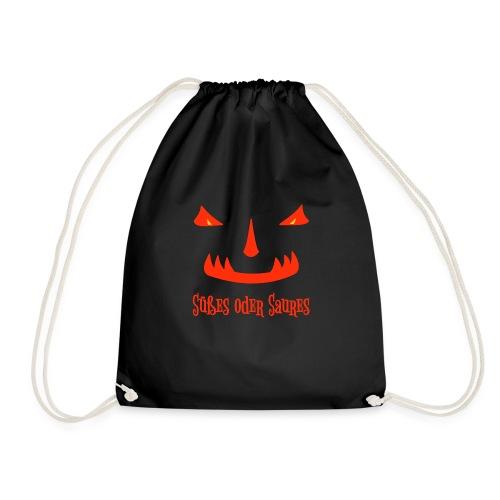Halloween Süßes oder Saures mit Monstergesicht - Turnbeutel