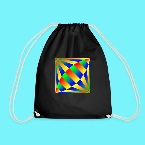 Giant cufflink design in blue, green, red, yellow. - Drawstring Bag