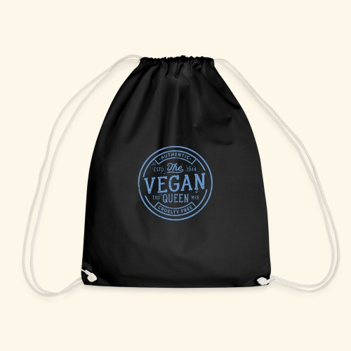 The Vegan Queen - Vintage Stamp Logo - Drawstring Bag