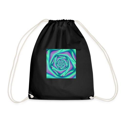 Silk Spiral Rose in Blue and Pink - Drawstring Bag