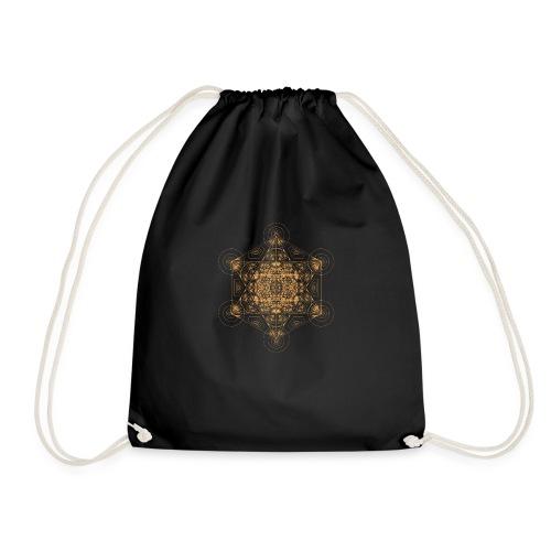 Fractal Metatron's Cube Orange - Drawstring Bag