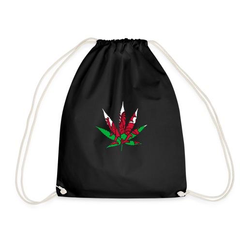 Cannabis Leaf with Welsh Flag overlay - Drawstring Bag