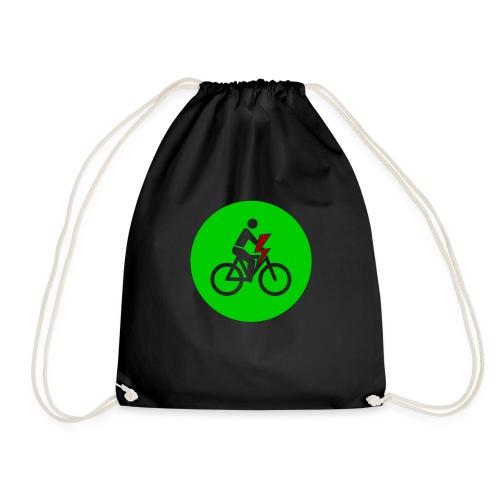 e bike grün Schild Logo Emblem - Farben änderbar - Turnbeutel