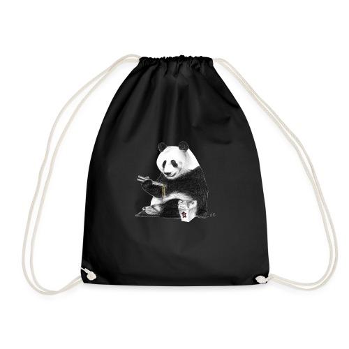 Panda Eating Noodles - Drawstring Bag