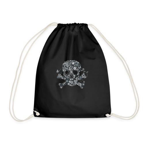 Tête de mort fleurs blanches - white flower skull - Sac de sport léger