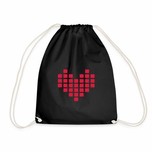 Digital Heart Herz Pixel Symbol PX love Liebe Icon - Turnbeutel