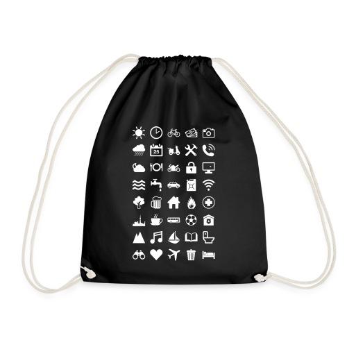 Travel Icons (white) - Turnbeutel