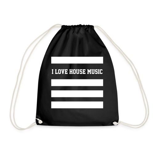 I LOVE HOUSE MUSIC STRIPES - Turnbeutel