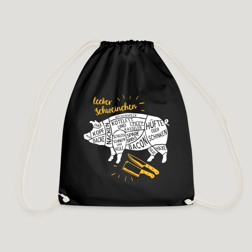 lecker Schweinchen lustiges Grill Shirt Geschenk - Turnbeutel