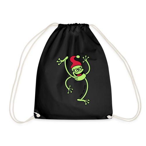 Merry Christmas Frog - Drawstring Bag