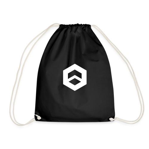 Plain black w/ logo - Drawstring Bag