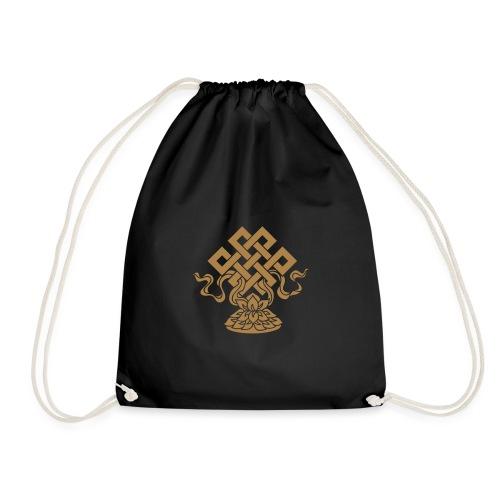 Endlosknoten, Buddhistisches Glückssymbol, Lotus - Turnbeutel