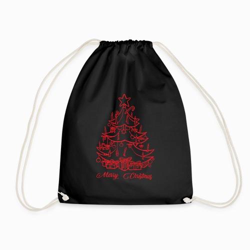 Merry Christmas - Fröhliche Weihnachten- rot - Turnbeutel