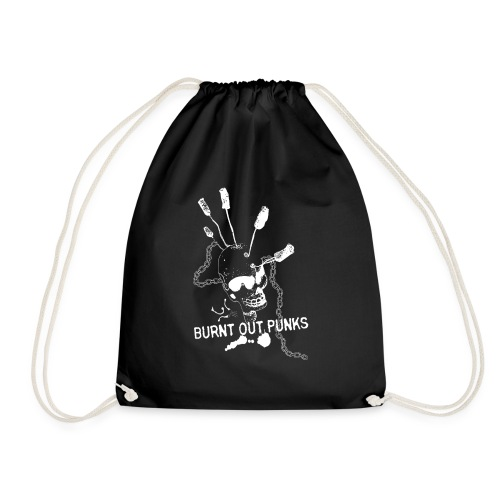 Burnt Out Punks Black Hoodie - Drawstring Bag
