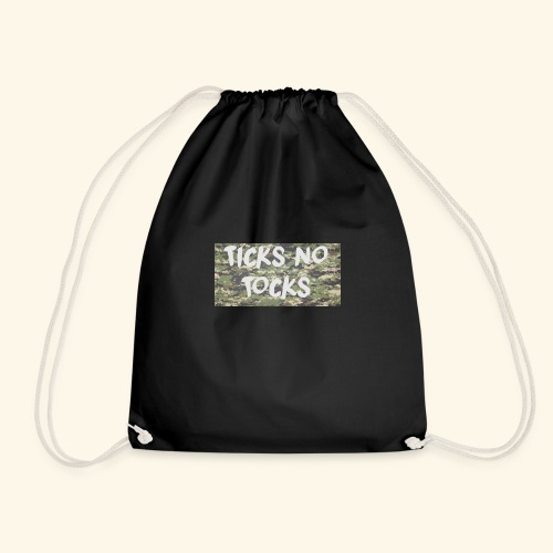 ticks no tocks - Drawstring Bag