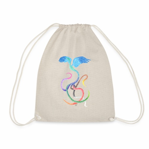 Graceful - Rainbow Bird in Ink - Drawstring Bag
