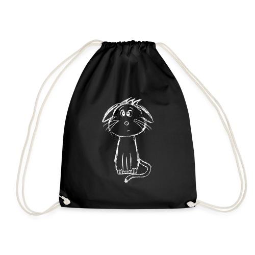 Cat kitten white scribblesirii - Drawstring Bag