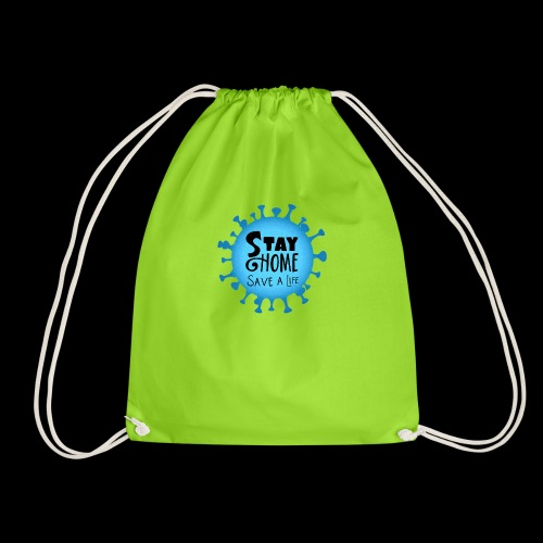 Stay Home (Blue) - Drawstring Bag