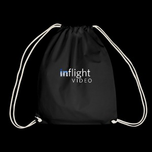 inflight Video White Logo - Drawstring Bag