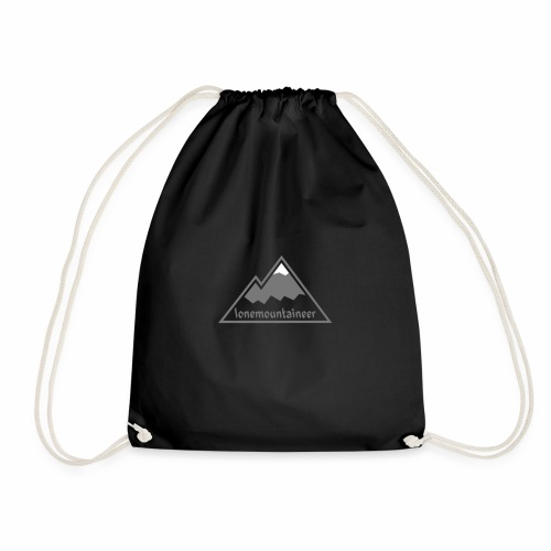 Lonemountaineer logo wht - Drawstring Bag
