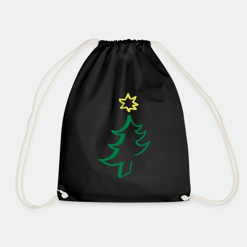 diagonal christmas tree - Drawstring Bag