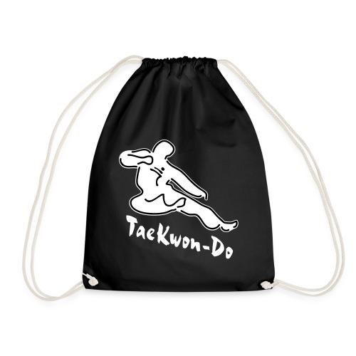 Taekwondo flying kicking man - Drawstring Bag