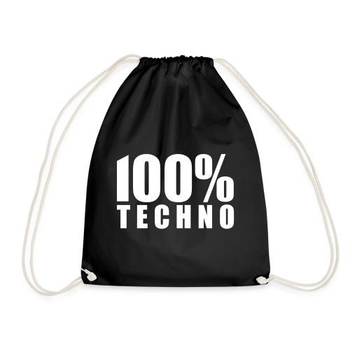 100% Techno Schriftzug Floorfreude Rave Festivals - Turnbeutel