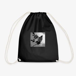 Black white roses on canvas - Drawstring Bag