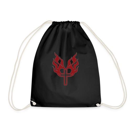 Cross and flaming hearts 02 - Drawstring Bag