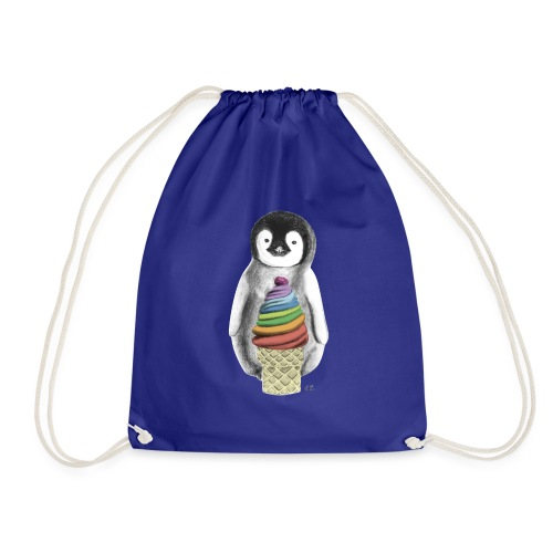 Baby Penguin With Ice Cre - Drawstring Bag