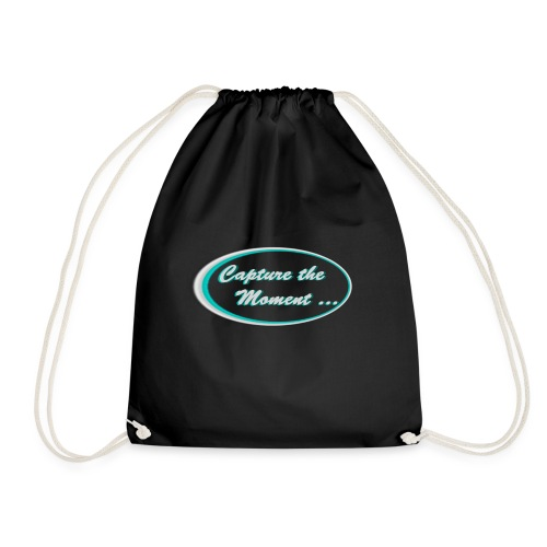 Logo capture the moment photography slogan - Drawstring Bag